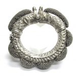 Antique Indian Bracelet, Rajasthan, Makara Heads, High Grade Silver, 201 Grams